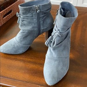 WHBM gray suede heeled boots